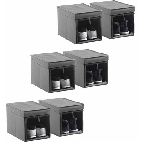 Schuhbox Faltbox Aufbewahrungsbox 6er Set Organizer Regal Box Kiste schmal grau