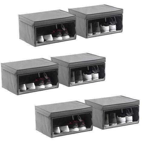 Schuhbox Schuhkarton Schuhschachtel 6er Set Faltbox Aufbewahrungsbox mit Deckel