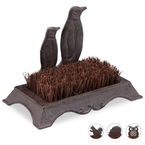 Schuhbürste, Gusseisen, Pinguin Design, harte Kokos-Borsten, Außenbereich, antiker Schuhabstreifer, braun