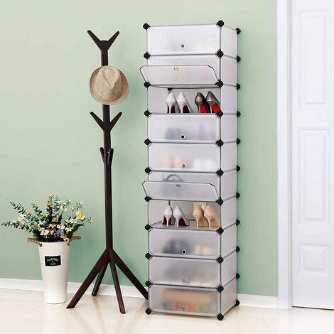 Schuhregal, DIY, Schuhschrank mit Tür, 10 Ebenen, aus PP-Kunststoff, Schuhablagen, mit Gummihammer und Umkippschutz, halbtransparent weiß/Schwarz