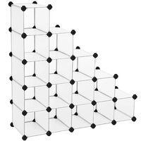 Schuhregal Regalsystem halbtransparent Weiß (Maße jedes Faches 22 x 22 x 35,5cm) LPC44S
