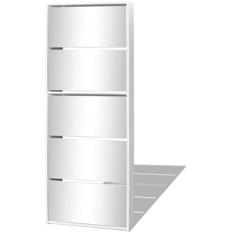 Schuhschrank Mit 5 Fächern Spiegel Weiß 63171695 Cm