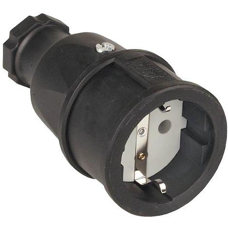 Schuko-Stecker 2-polig+E 16A PVC grau mit Tülle 250V CEE7//VII