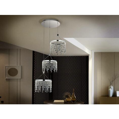 Schuller Anastasia - Integrated LED Crystal 3 Light Cluster Drop Ceiling Pendant Chrome