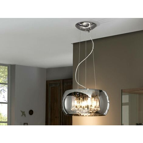 Schuller Argos - 5 Light Dimmable Crystal Ceiling Pendant with Remote Control Chrome, Mirror, G9