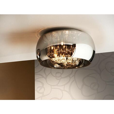 Schuller Argos - 5 Light Dimmable Crystal Flush Ceiling Light with Remote Control Chrome, Mirror, G9