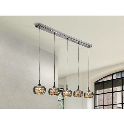 Schuller Ari - 5 Light Dimmable Crystal Hanging Ceiling Pendant with Remote Control Chrome, Mirror, G9