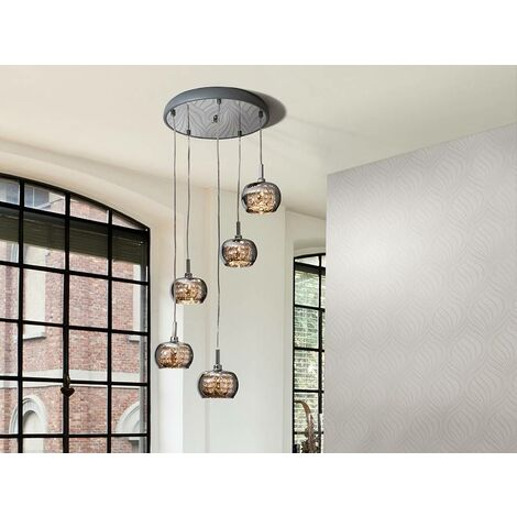 Schuller Ari - 5 Light Dimmable Spiral Crystal Ceiling Cluster Pendant Remote Control Chrome, G9