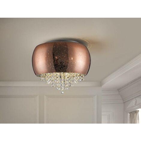 Schuller Caelum - 5 Light Crystal Flush Ceiling Light Copper, G9