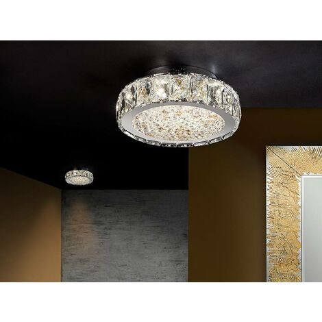 Schuller Dana - Integrated LED Dimmable Crystal Flush Ceiling Light with Remote Control Chrome