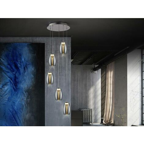 Schuller Nebula - Integrated LED 5 Light Dimmable Crystal Cluster Drop Ceiling Pendant with Remote Control Chrome