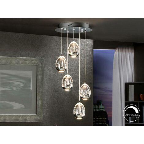 Schuller Roc - Integrated LED 5 Light Crystal Cluster Drop Ceiling Pendant Chrome