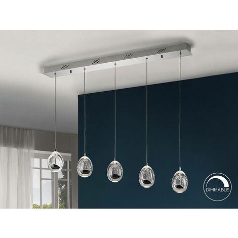 Schuller Roc - Integrated LED 5 Light Crystal Drop Bar Ceiling Pendant Chrome Bubble Effect
