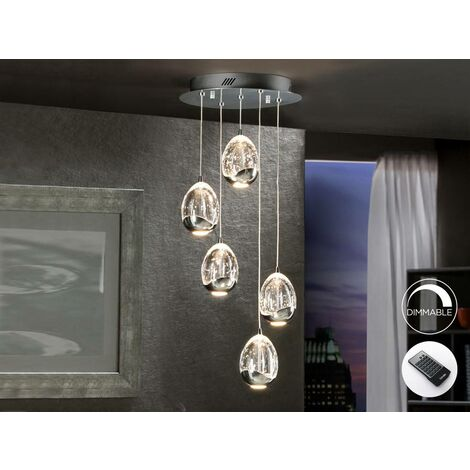 Schuller Roc - Integrated LED 5 Light Dimmable Crystal Cluster Drop Ceiling Pendant with Remote Control Chrome