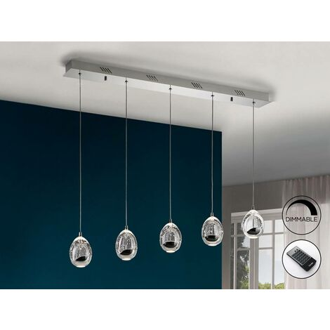 Schuller Roc - Integrated LED 5 Light Dimmable Crystal Drop Bar Ceiling Pendant with Remote Control Chrome