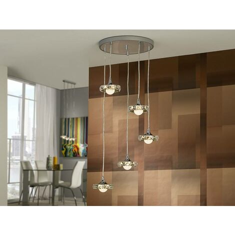 Schuller Suria - Integrated LED 5 Light Crystal Cluster Drop Ceiling Pendant Chrome