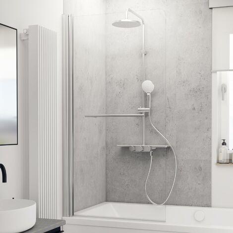 Schulte Badewannenaufsatz 1-teilig, mit Heb-Senk-Mechanismus, Sicherheitsglas ESG klar hell, 150 cm Höhe, Profilfarbe: Chromoptik