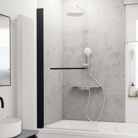 Schulte Badewannenaufsatz 1-teilig, mit Heb-Senk-Mechanismus, Sicherheitsglas ESG klar hell, 150 cm Höhe, Profilfarbe: Schwarz Matt