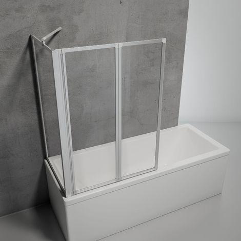 Schulte Duschabtrennung für Badewanne Smart, 3-teilig mit Seitenwand, 3 mm Sicherheitglas (ESG) Klar hell, Faltwand: 129 x 121 cm,