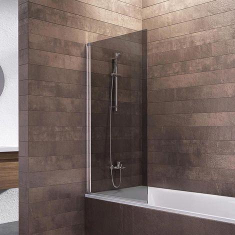 Schulte Duschwand Berlin, 70 x 130 cm, 5 mm Sicherheitsglas, Duschabtrennung für Badewanne