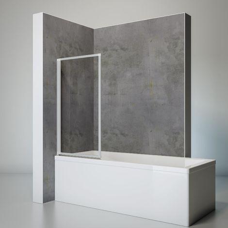 Schulte Duschwand Smart inkl. Klebe-Montage, 127 x 121 cm, 3-teilig faltbar, Duschabtrennung für Badewanne