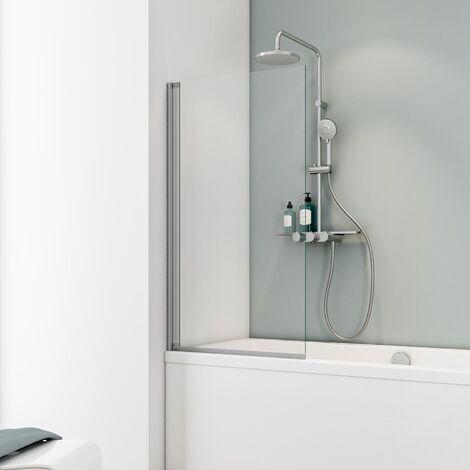 Pare-baignoire rabattable, 70 x 130 cm, verre 5 mm, paroi de baignoire 1 volet Capri, écran de baignoire pivotant Schulte, profilé alu-argenté