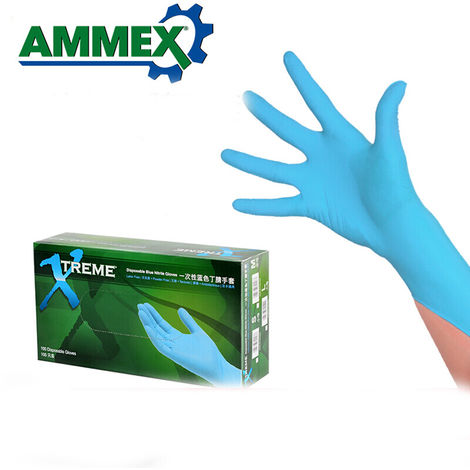 Ohne Latex Blau-Schwarz Gr S Nitras 6240 Skin Nylon-Montagehandschuhe