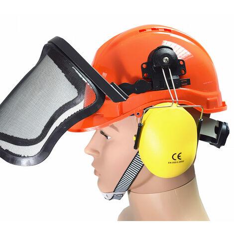 Schutzhelm Arbeitshelm mit Gehörschutz Visier Forstschutzhelm Forsthelm