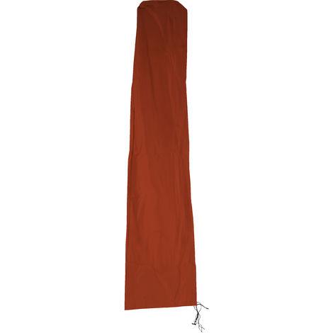 Schutzhülle HHG für Ampelschirm bis 4,3 m (3x3 m), Abdeckhülle Cover mit Reißverschluss ~ terrakotta