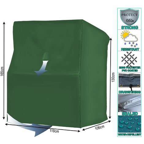 Schutzhülle Strandkorb L 119x106x165 cm Strandkorbhülle Abdeckung Grün