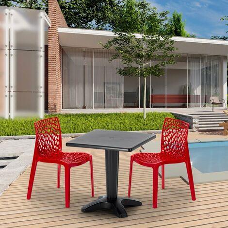 Schwarz Quadratisch Tisch und 2 Stühle Farbiges Polypropylen-Innenmastenset Grand Soleil GRUVYER AIA   Beige - SET2SZAEGBE