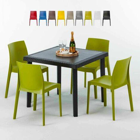 """main image of """"Schwarz Quadratisch Tisch und 4 Stühle Farbiges Polypropylen-Außenmastenset Grand Soleil Paris Passion"""""""