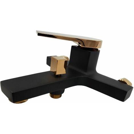 Schwarz/Rosé Goldmessing Badmischbatterie Wandmontage-Badewannenbatterie