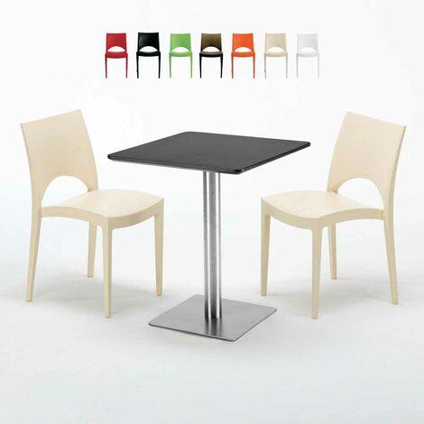 Tisch 60x60 Schwarz.Schwarz Tisch Quadratisch 60x60 Mit Stahlfuß 2 Bunten Stühlen Paris Pistachio