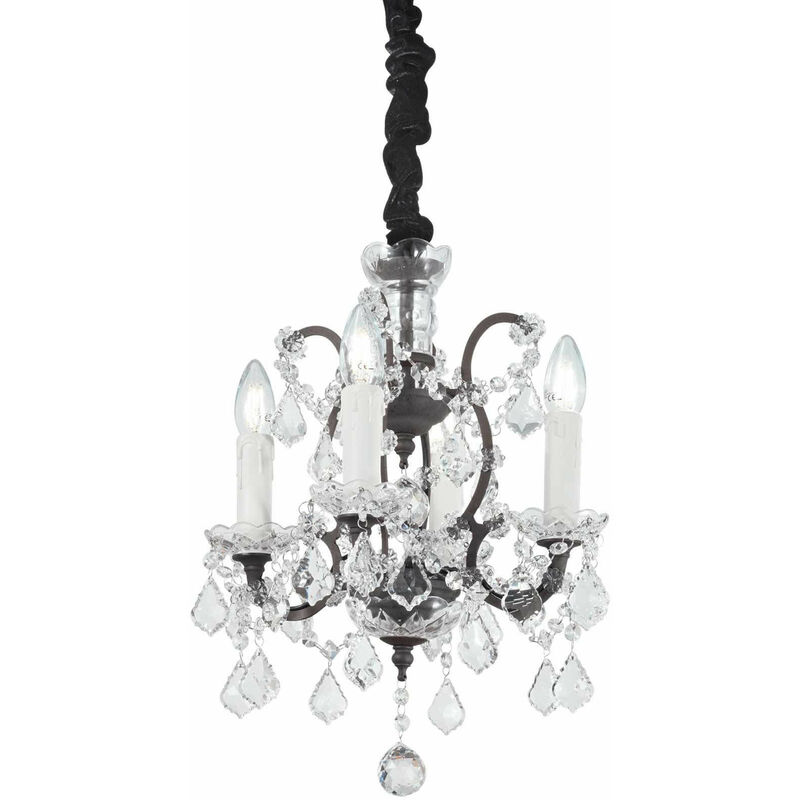 01-ideal Lux - Schwarze Kristall Pendelleuchte LIBERTY 4 Glühbirnen