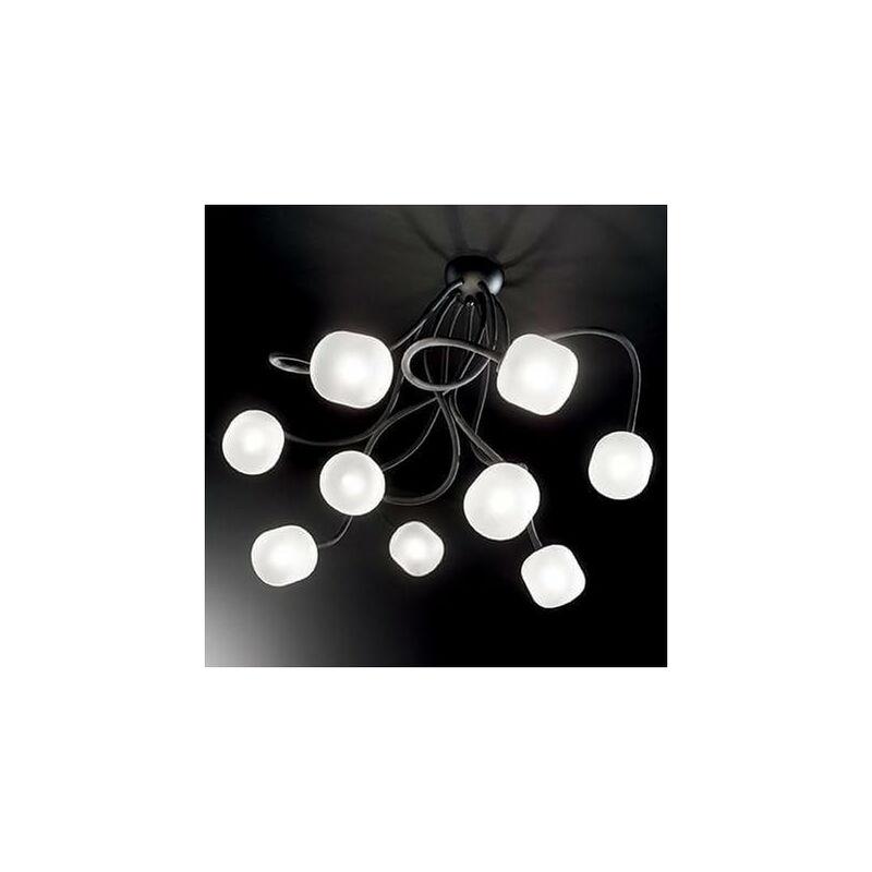 01-ideal Lux - Schwarze OCTOPUS Deckenleuchte 9 Lampen