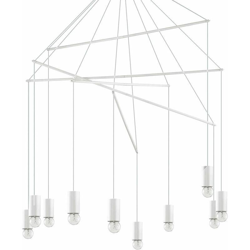 01-ideal Lux - Weiße POP Pendelleuchte 10 Glühbirnen