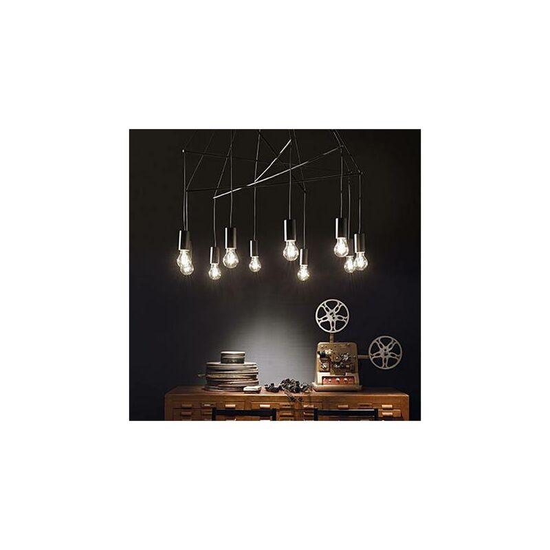 01-ideal Lux - Schwarze POP Pendelleuchte 10 Glühbirnen