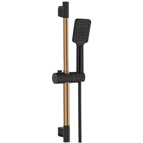 Schwarze/Roségoldene Duschbügel Kopfbrause Reling Handbrausesäulen-Set