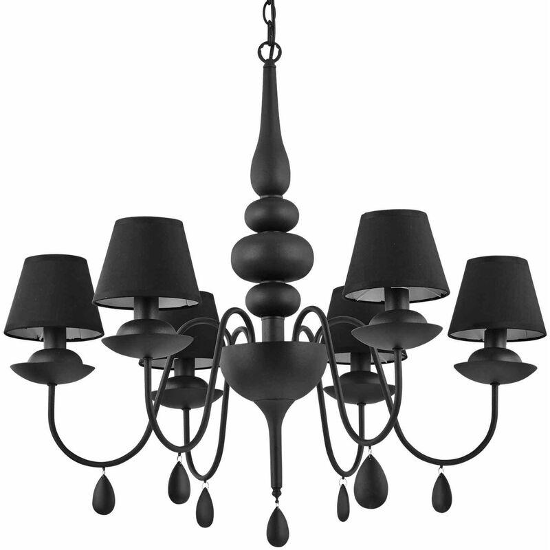 Schwarze weiße Pendelleuchte 6 Lampen