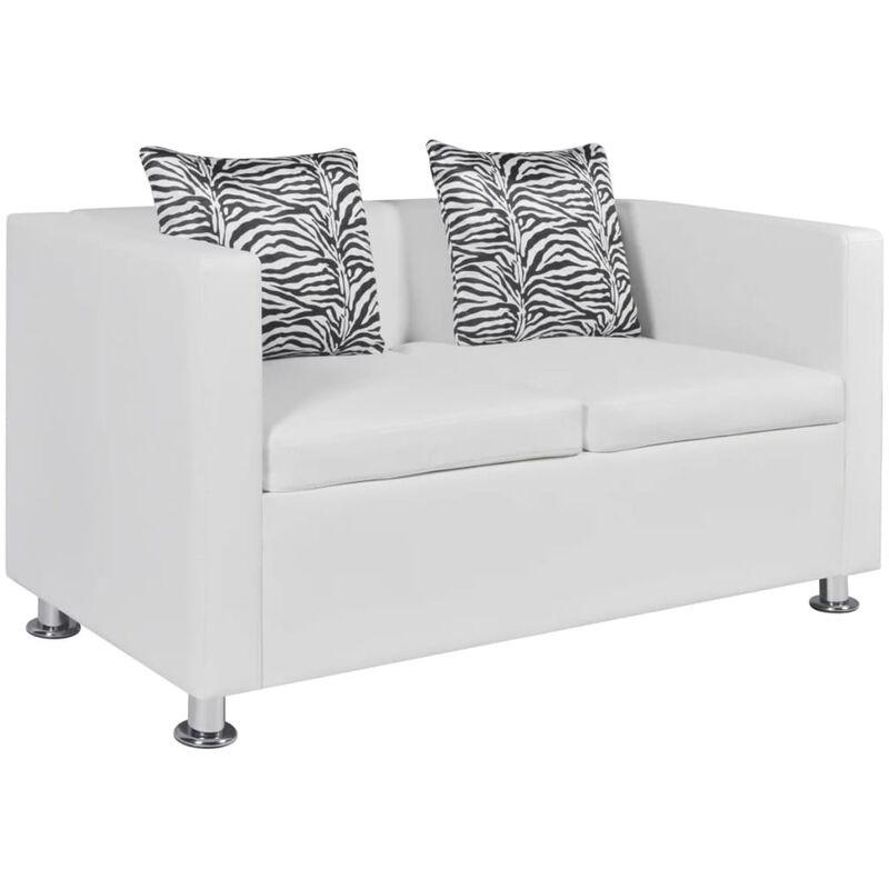 2-Sitzer-Sofa Kunstleder Weiß