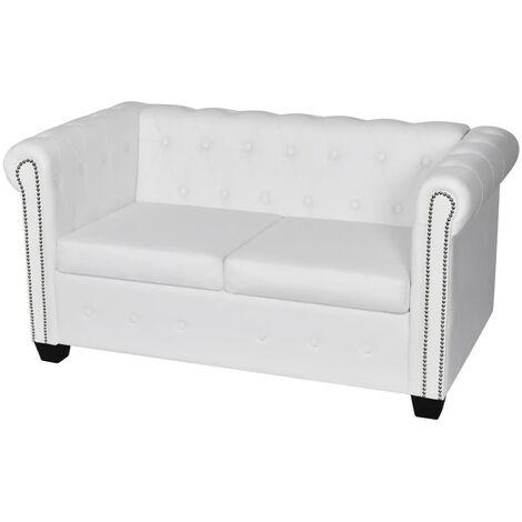 Chesterfield Sofa Kunstleder 2-Sitzer Weiß