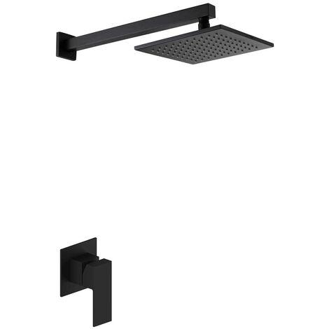 Schwarzes quadratisches Duschset mit schwarzem Duscheinsatz