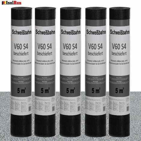 Schweißbahn V60 S4 Glasvlieseinlage beschiefert GRAU 5 x 5 m² DachPappe