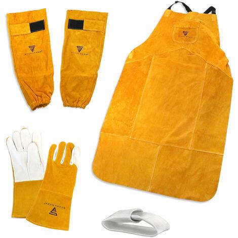 Schweißerschutzkleidung Set - Schweißerschürze + Schweißerhandschuhe + Armspritzschutz + TIG Finger
