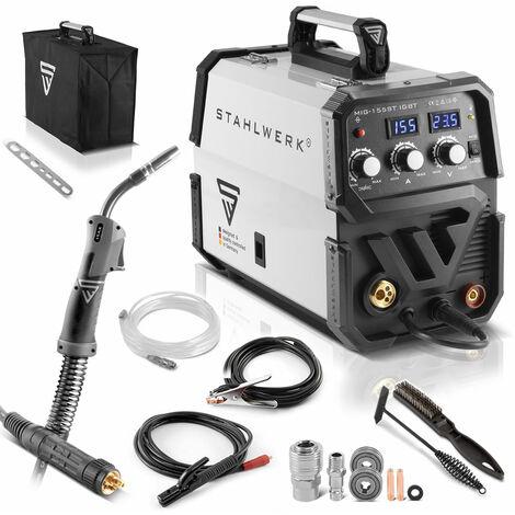 Schweißgerät STAHLWERK MIG 155 ST IGBT - MIG MAG Schutzgas Schweißanlage mit 155 Ampere, MMA Funktion, FLUX Fülldraht geeignet, 7 Jahre Garantie*