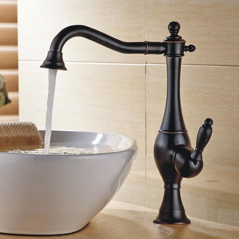 Retro Bad Waschbecken Waschtisch Einhebel Armatur Schwarz Brüniert Sanlingo