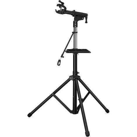 Schwerlast Fahrradmontageständer Reparaturständer mit große Werkzeugablage, Arm aus Aluminiumlegierung, vollen Funktionen für Fahrradreparatur SBR03B - Schwarz