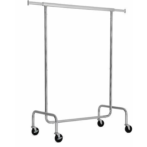 Schwerlast Metall Kleiderständer Garderobe auf Rollen, max. Belastbarkeit 130kg Länge: 110-150cm verchromt HSR11S - Silber