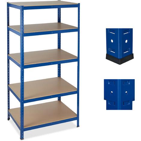 Schwerlastregal, 5 Ebenen, Traglast 1325 kg, Steckregal Keller, Garage, Werkstatt, 180x90x60, Metall/MDF, blau